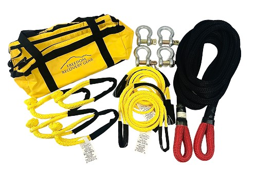 Vehicle to Vehicle Recovery Kits with K.E.R.R. Rope for up to 8500 lb GVW, 12 piece Kit
